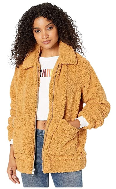 Item - Camel Sherpa Mid Length Zip Front Jacket Size 2 (XS)