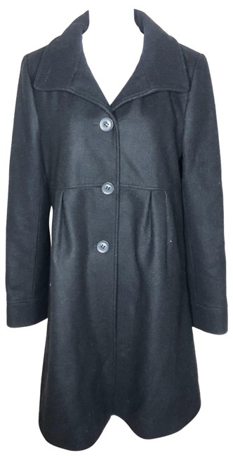 Item - Black Donna York Womens Wool Collared Coat Size 12 (L)
