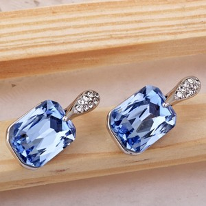Cubic Zircon Blue Square Stud Earrings Crystal Blue Earrings Gift