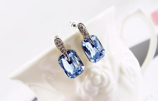 Blue Cubic Zircon Square Stud Crystal Gift Earrings