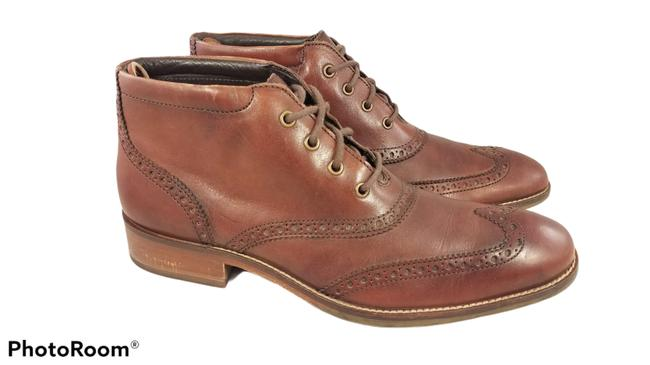 Item - Brown Leather Ankle Wingtip Brogue Lace Up Men's Boots/Booties Size US 7.5 Regular (M, B)