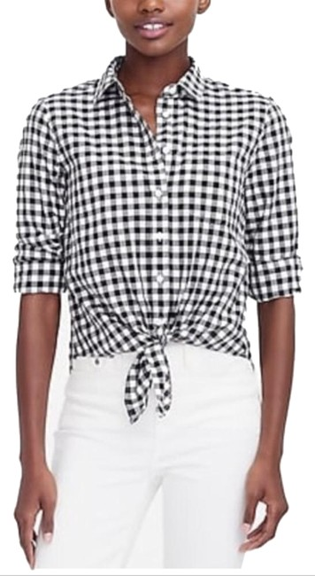 Item - Black White Gingham Check Tie Front Shirt Button-down Top Size 4 (S)