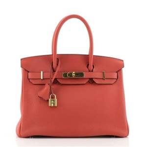Hermès Leather Red Tote in Rouge Pivoine (Red)