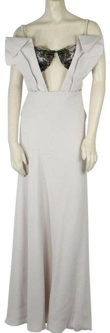 Item - Cream Ivory Exposed Built In Bra Mermaid Long Gown Formal Dress Size 6 (S)