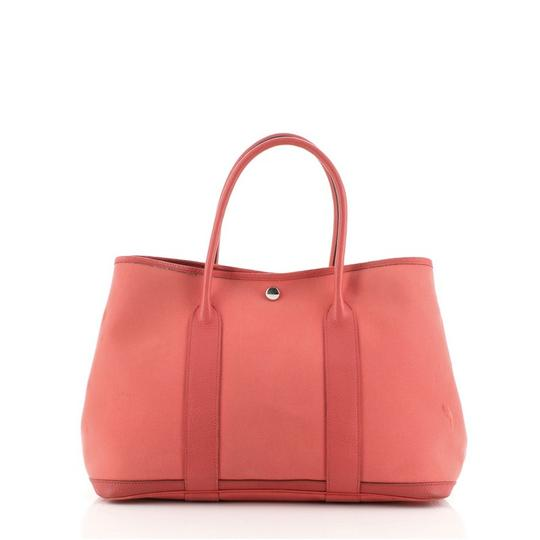 HermèsGarden Party And 30 Red Canvas (Plain) Leather Tote