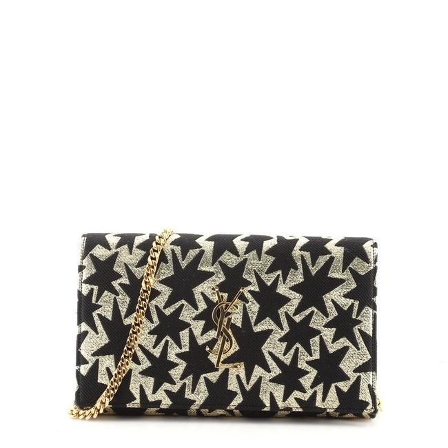 Item - Black Gold Print on Chain Classic Monogram Woven Fabric Wallet