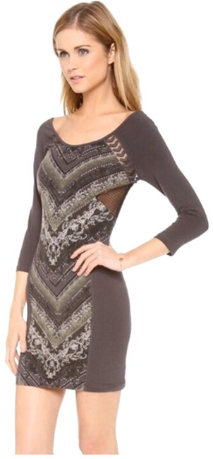 Item - Gray/Green Out Of Africa Bodycon Mid-length Short Casual Dress Size 2 (XS)
