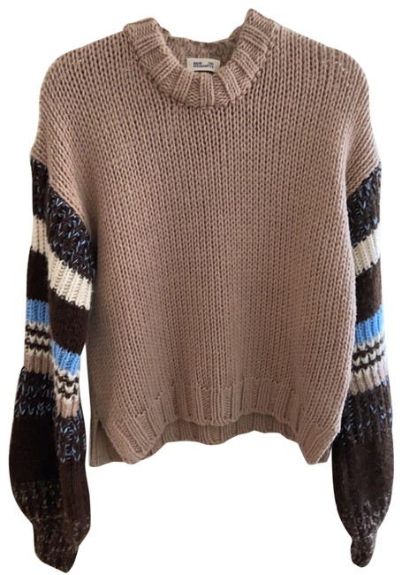 Item - 20570 Camel with Multi Color Sleeves Sweater