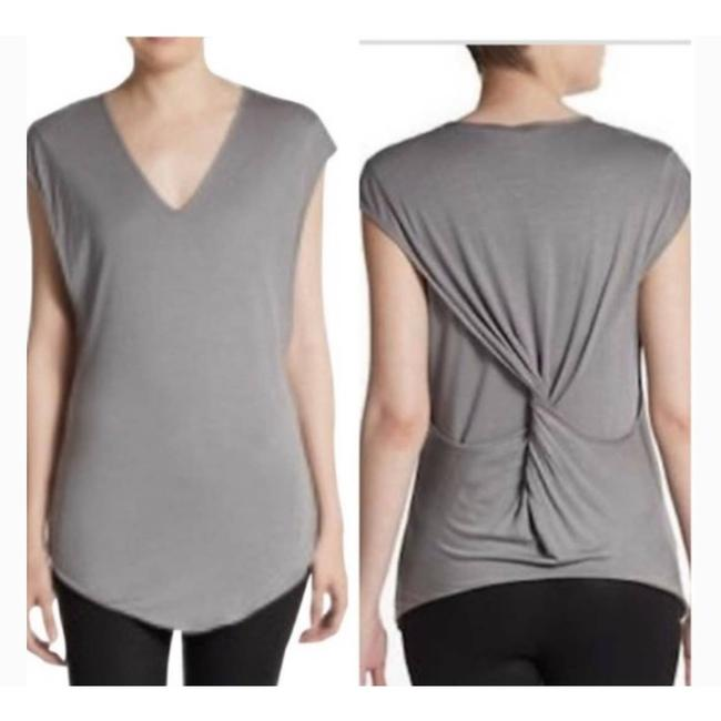 Item - Gray Twist Back V Neck Small Blouse Size 6 (S)