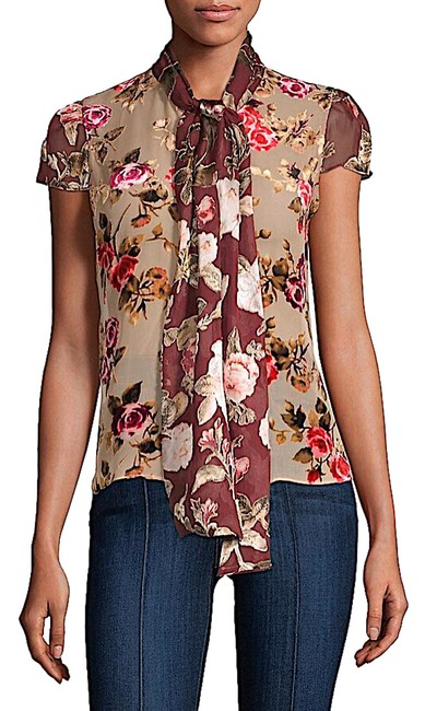 Item - Multi with Tag Jeannie Bow-collar Blouse Button-down Top Size 4 (S)
