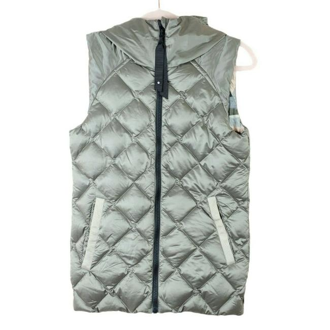 Item - Gray The Fluffiest Full Zip Goose Down Quilted Hooded Reversible Vest Size 4 (S)