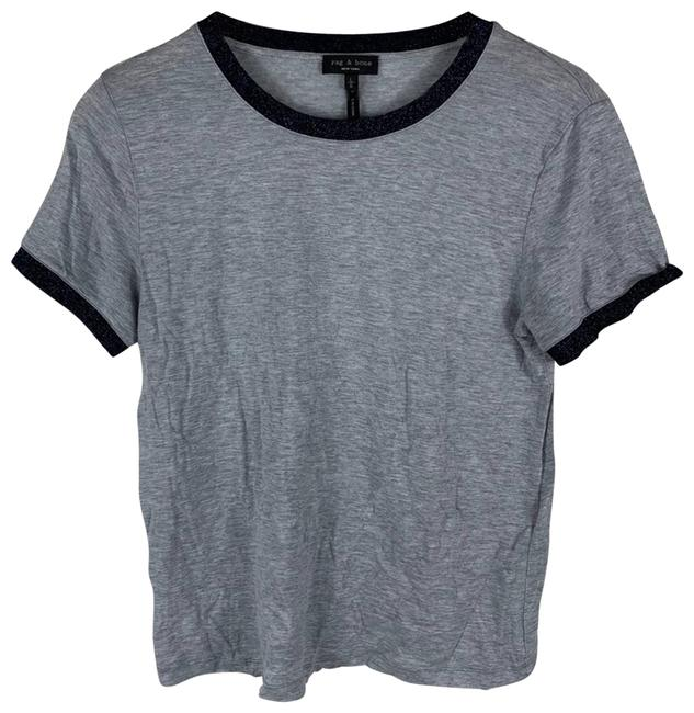 Item - Gray Ringer Tee Womens Large Blue Blouse Size 12 (L)