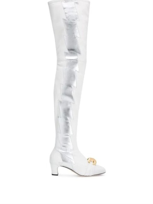 Item - White Leather Over The Knee Boots/Booties Size EU 37.5 (Approx. US 7.5) Regular (M, B)