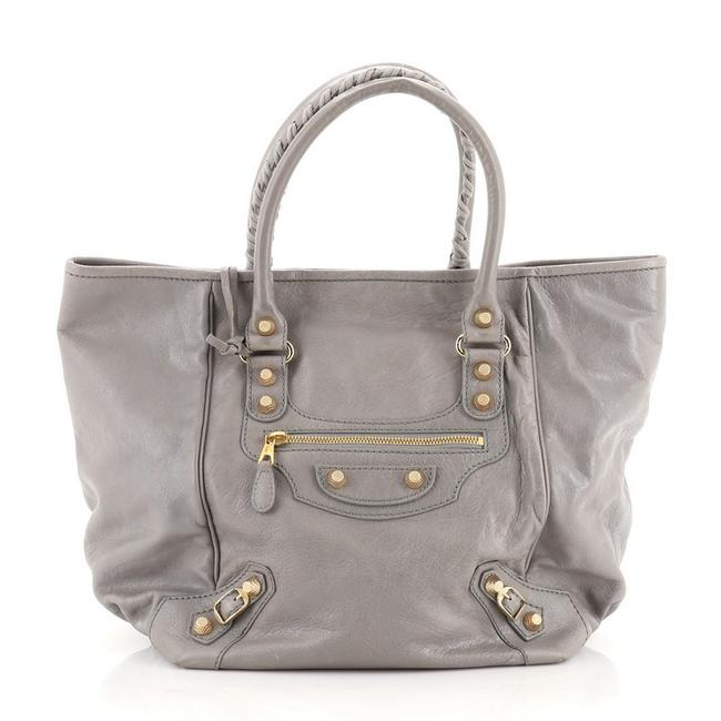 Item - Sunday Giant Studs Small Gray Leather Tote