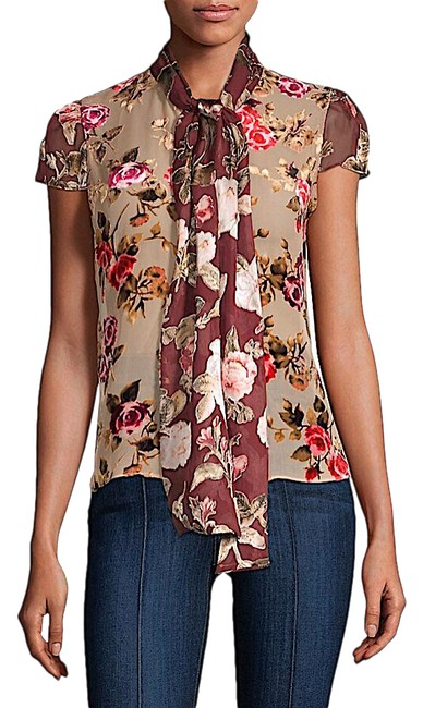 Item - Multi with Tag Jeannie Bow-collar Blouse Size 12 (L)