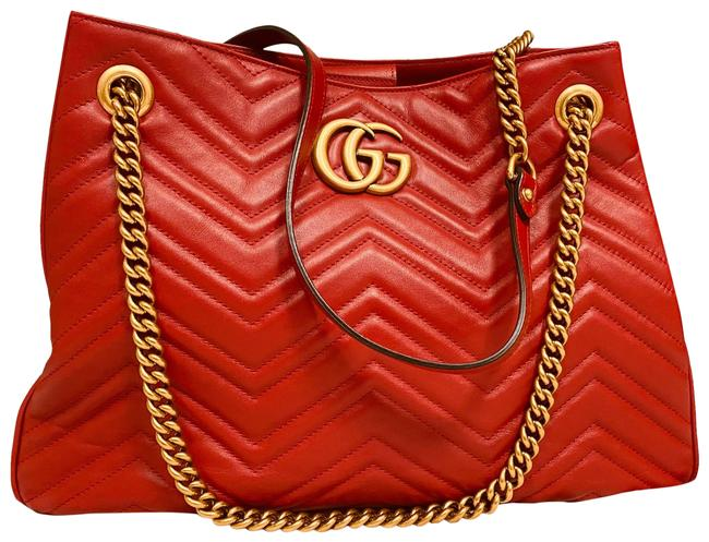 Item - Marmont Gg Red Lambskin Leather Tote