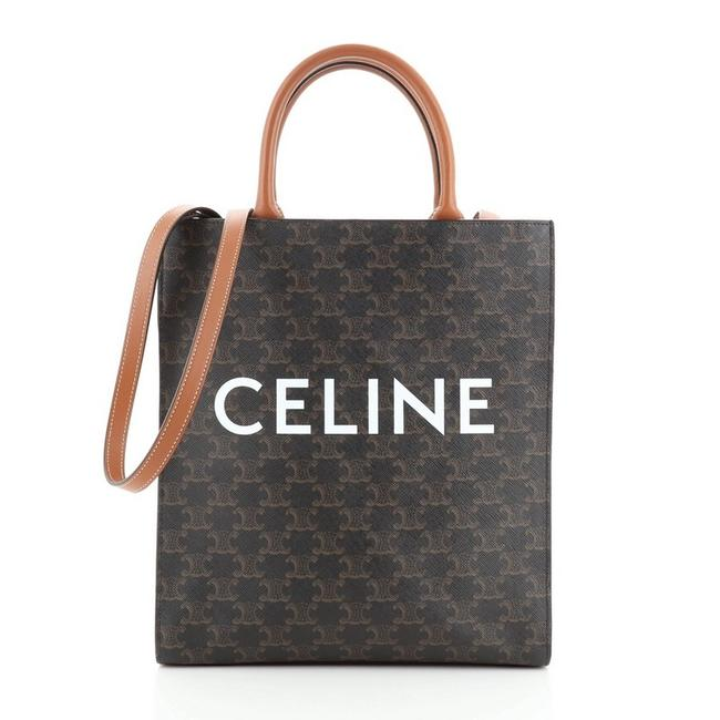 Item - Vertical Cabas Triomphe Small Black Brown Coated Canvas Tote