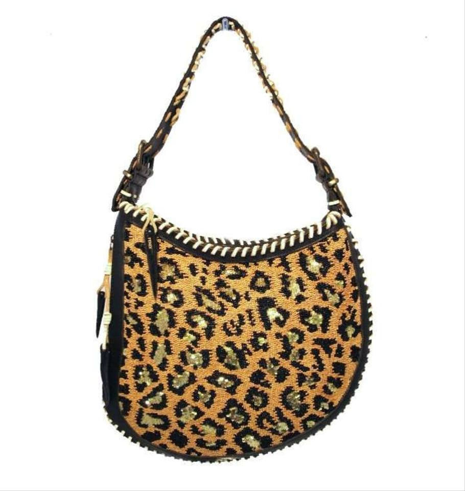 689451a62c Fendi Beaded Print Black Leather Leopard Sequins and Beads Shoulder ...