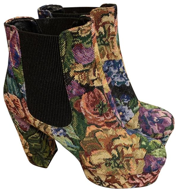 Item - Black Floral Chunky Ankle Boots/Booties Size US 10 Regular (M, B)