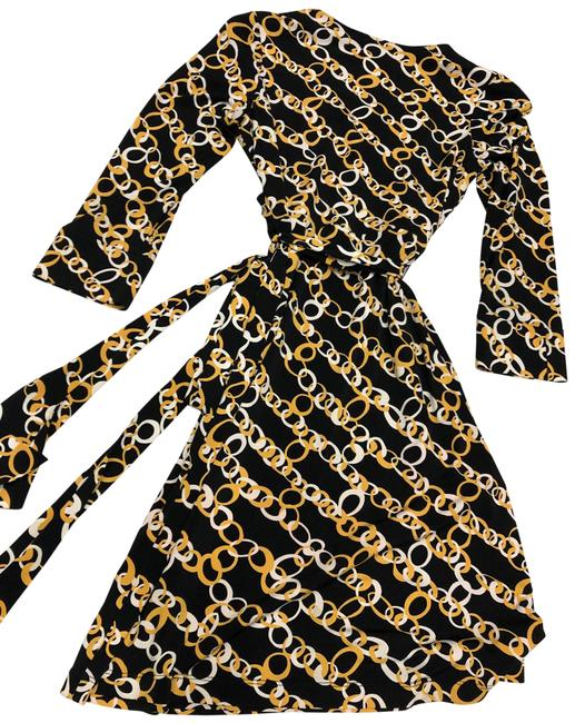 Item - Black & Yellow Wrap Mid-length Night Out Dress Size Petite 4 (S)