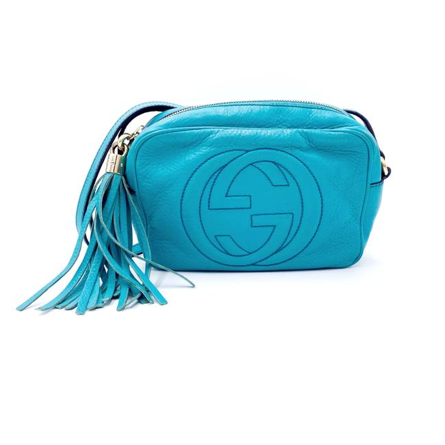 Gucci Soho Disco Small Turquoise Blue Leather Shoulder Bag Gucci Soho Disco Small Turquoise Blue Leather Shoulder Bag Image 1