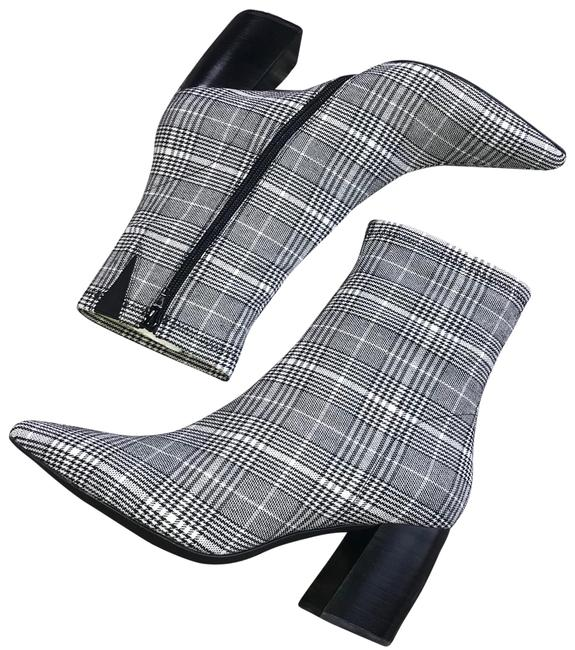 Item - Black/White Sport Plaid Pointy Boots/Booties Size US 8.5 Regular (M, B)