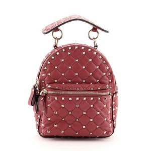 Item - Rockstud Spike Quilted Mini Red Leather Backpack