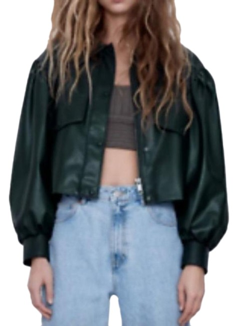Item - Green Crop Long Puff Sleeve Jacket Size 4 (S)