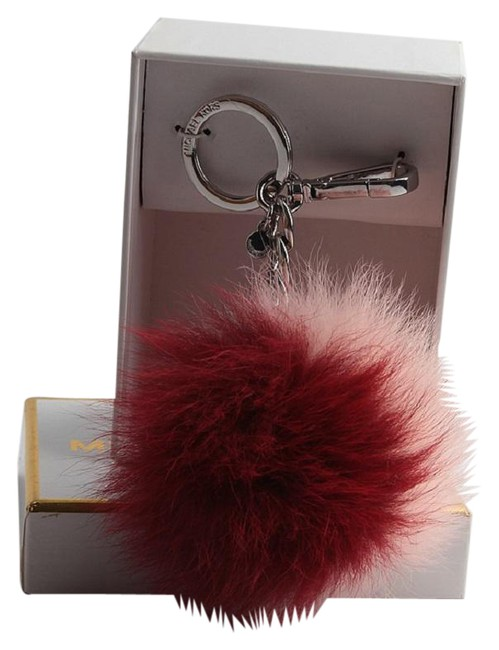 Michael Kors Red Pink New Fox Fur Pom Pom Keychain Fob Bag Charm Michael Kors Red Pink New Fox Fur Pom Pom Keychain Fob Bag Charm Image 1