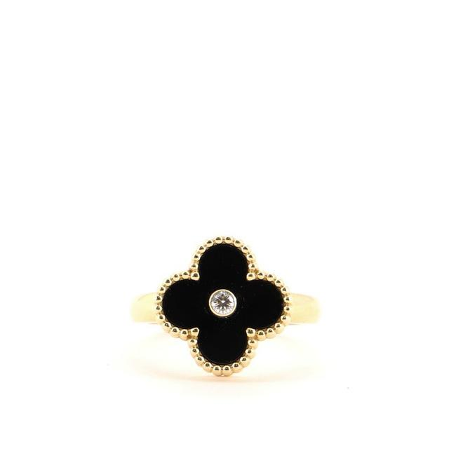 Item - 18k Yellow Gold Vintage Alhambra and Onyx with Diamond 6.75 - 54 Ring