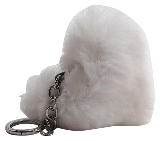 Item - White New Heart Fox Fur Pom Pom Keychain Fob Bag Charm