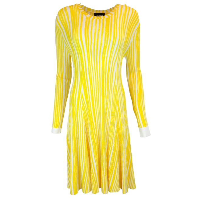 Item - Yellow Striped Viscose Knit Cocktail Dress Size 4 (S)