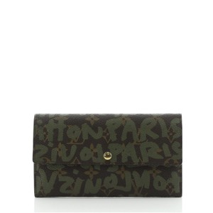 Item - Brown Green Print Sarah Graffiti Limited Edition Monogram Wallet