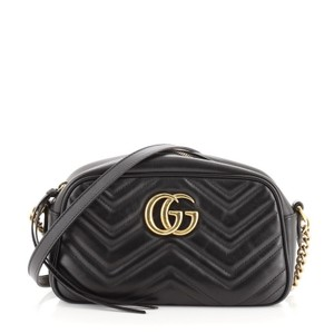 Item - GG Marmont Matelasse Small Black Leather Shoulder Bag