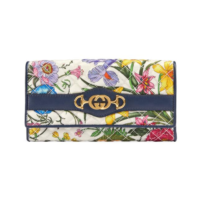 Item - White Flora Print Continental Long Ladies Wallet