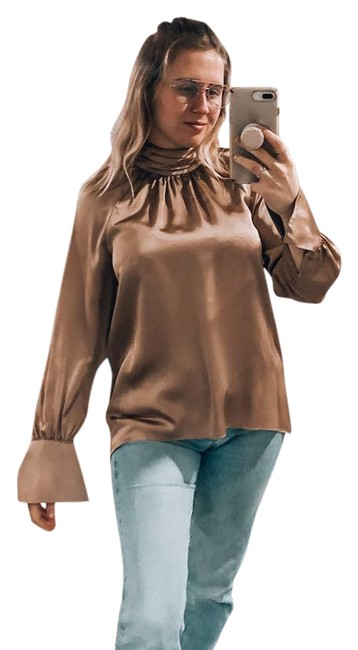 Item - Gold Silky Turtleneck Tunic Small Bell Sleeve Champange Blouse Size 6 (S)
