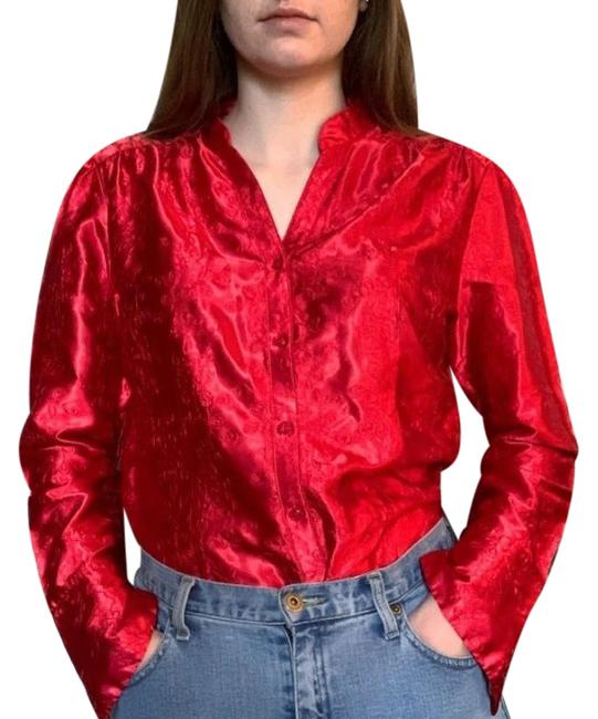 Item - Red Satin Floral Embroidered Blouse Button-down Top Size 12 (L)
