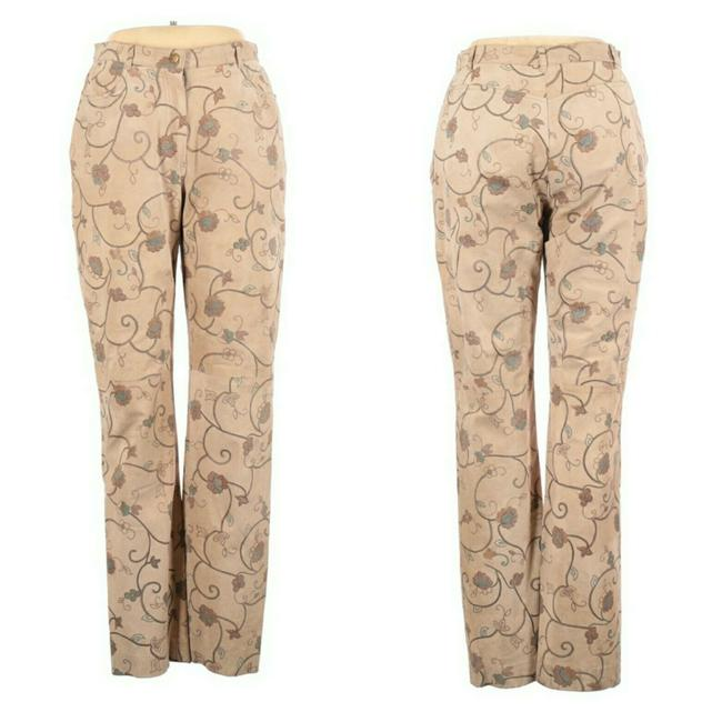 Item - Beige 90s Suede Embroidered High Waist Pants Size 14 (L, 34)