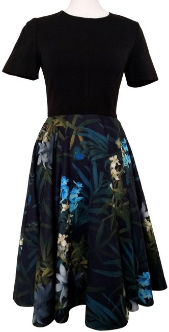 Item - Black Green and Blue Fit & Flare Floral Print Mid-length Work/Office Dress Size 2 (XS)