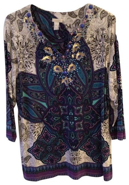 Item - Purple Turquoise White and Black. Gold Accents. Tunic Size 12 (L)