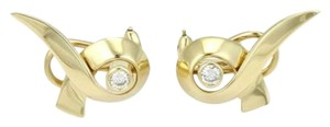 Tiffany & Co. Tiffany Co. Paloma Picasso 18k Yellow Gold Ribbon Earrings With Diamonds