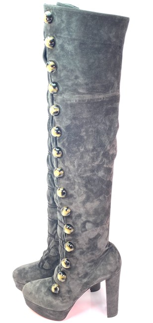 Item - Gray Alta Manuela 120 Charbon Suede Over Knee Boots/Booties Size EU 40 (Approx. US 10) Regular (M, B)