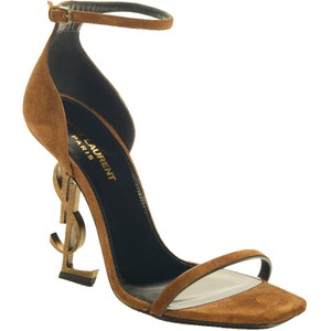 Item - Brown Opyum 110 Ysl Logo Heel Suede Leather Ankle Strap High Sandals