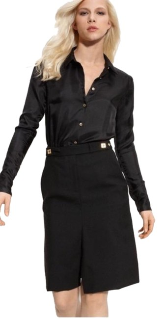 Item - Black Gold Silk and Wool Shirtdress Mid-length Work/Office Dress Size 6 (S)