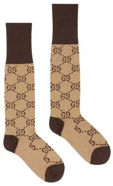 Item - Beige Brown Gg New Ladies Current Pattern Cotton Blend 8/Small Socks