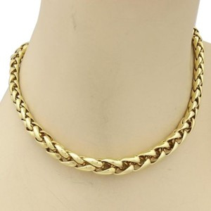 Estate 14k Yellow Gold Thick Woven Graduated Link Necklace