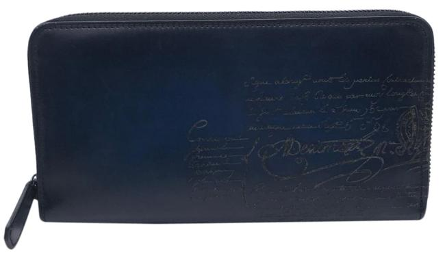 Item - Blue Long Calligraphy Round Zipper Men's Leather Wallet