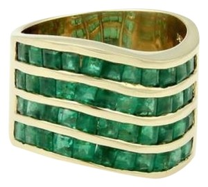 14k Yellow Gold 15mm Wide Emerald Estate Band Ring - Size 7.25