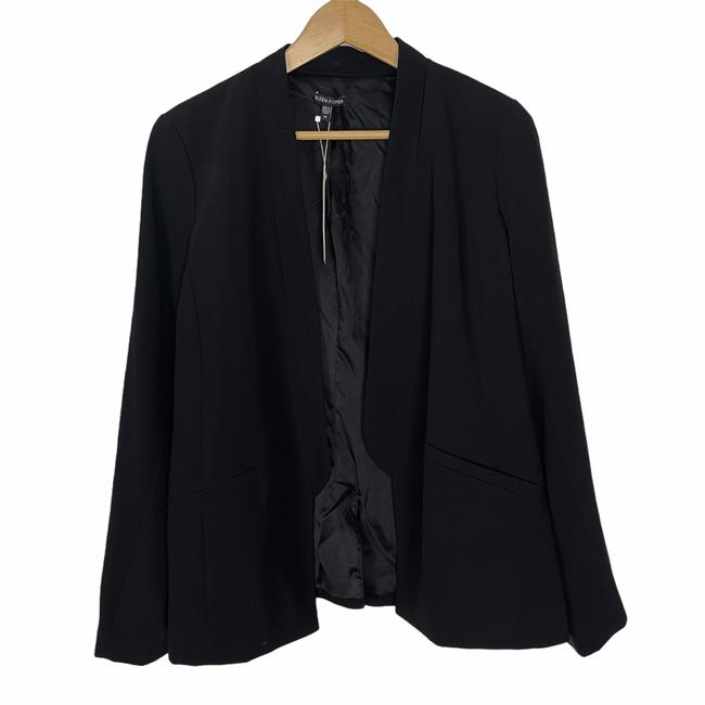 Item - Black Silk Blend Lined Open Front Jacket Blazer Size 14 (L)