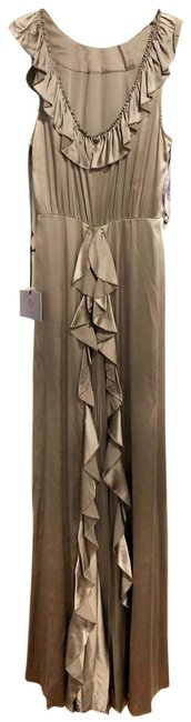 Item - Silver Gown Sleeveless Ruffle Long Formal Dress Size 8 (M)